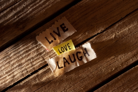 The words live, laugh, love.