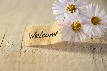 banner met welkom en bloesems Stockfoto