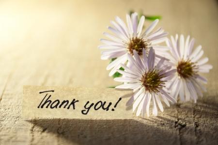 agradecimiento: Banner con usted y flores de gracias.
