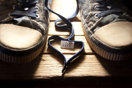 Sneakers With Lovely Heart Stock Photo