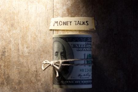 oncept: Сoncept of money talks, money and inscription Money talks