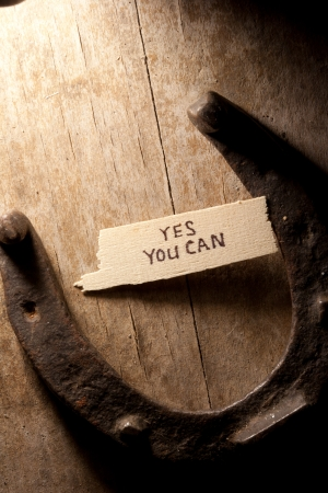 yes you can  inscription and  horseshoe over wooden background photo