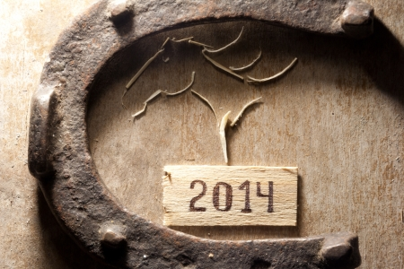 tags with 2014 on a wooden surface, horseshoe and horses head