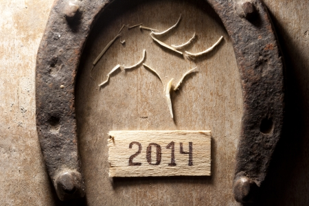 tags with 2014 on a wooden surface, horseshoe and horses head photo