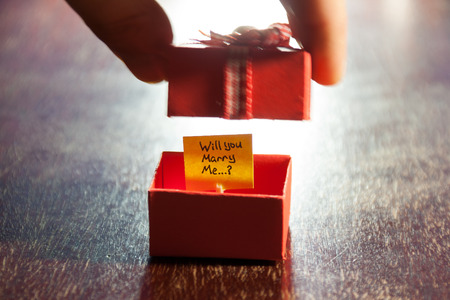 will you marry me: Will you marry me label and box Stock Photo