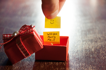Will you marry me label and box Stock Photo