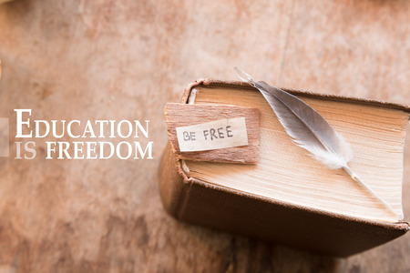 Be free  label, in an  book. Education is freedom.