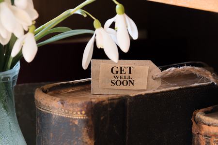 get well: snowdrop and card with lettering get well soon