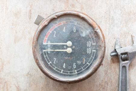 manometer: Steampunk background. Metal, mechanical device. Manometer.