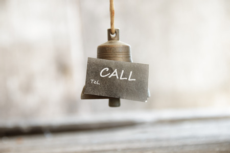 call bell: Call concept, the bell and the inscription Stock Photo