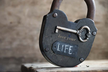 love life: Lock, key and tag with a word  love your life. Key that open all locks is love.