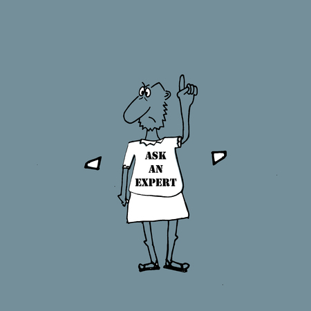 philosophers: ASK AN EXPERT, inscription on the philosophers clothes, illustration.
