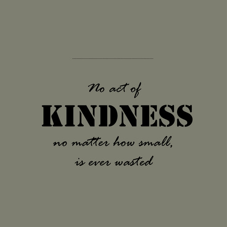 kindness: No act of kindness, no matter how small, is ever wasted.