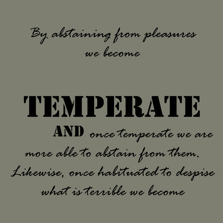 abstain: By abstaining from pleasures we become temperate and once temperate we are more able to abstain from them.