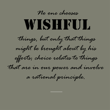 No one chooses wishful things, but only that things might be brought about by his efforts; choice relates to things that are in our power and involve a rational principle.