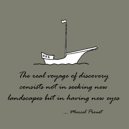 but: The real voyage of discovery consists not in seeking new landscapes but in having new eyes