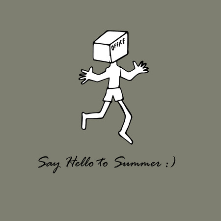 Say Hello to Summer, creative message.  Man with a box on his head and text office. Ilustração