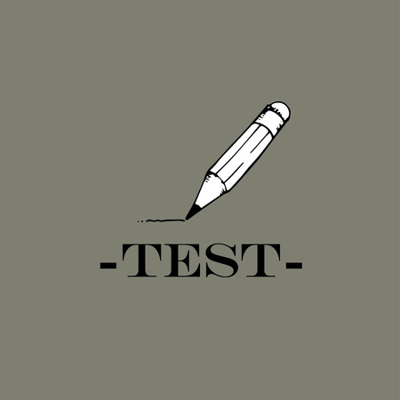 Test idea. The word test and pencil.