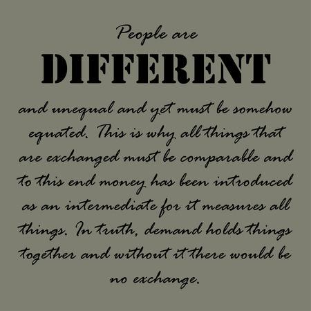 oracion: Las personas son diferentes y desiguales y sin embargo, de alguna manera debe ser equiparado.