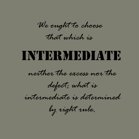 We ought to choose that which is intermediate, neither the excess nor the defect,  what is intermediate is determined by right rule.