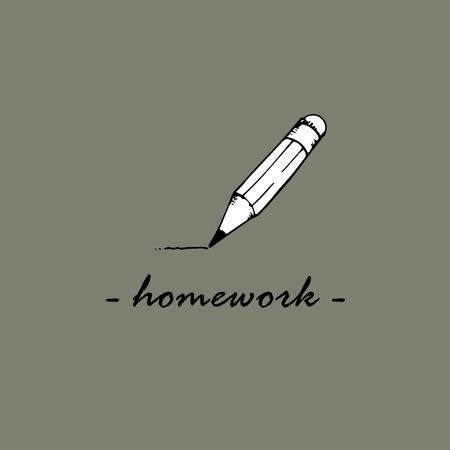 Homework idea. The word Homework and pencil. Ilustração
