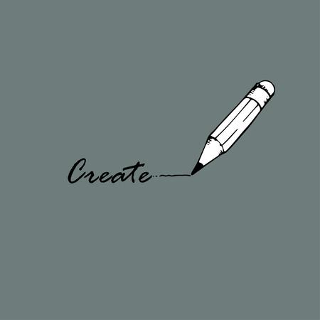 Create idea. The word  create and pencil. Ilustração