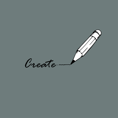 create idea: Create idea. The word  create and pencil. Illustration