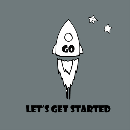 laat de slag te gaan tekst en raket met het opschrift Go