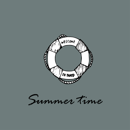 summer time: Summer time idea. Lifebuoy and text Summer time Illustration