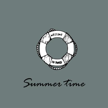 Summer time idea. Lifebuoy and text Summer time Ilustração