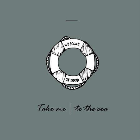 Take me to the sea idea. Lifebuoy and text. Ilustração