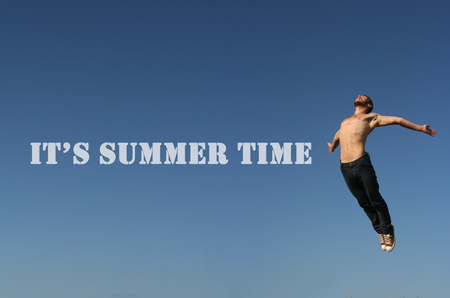 its: Its summer time idea. A guy jumping high and Its summer time text.