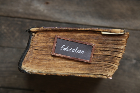 old style lettering: lettering Education and old book, vintage style Stock Photo