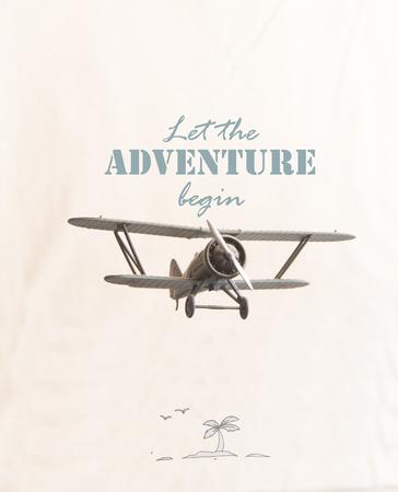 empezar: Deje que la aventura comience la inscripción y el avión