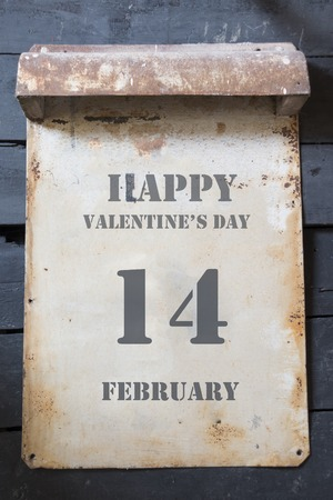 14 february: Happy Valentines Day lettering 14 february, vintage style