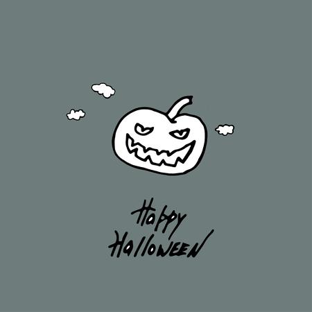 Happy Halloween Handmade vector lettering and Pumpkin Ilustração