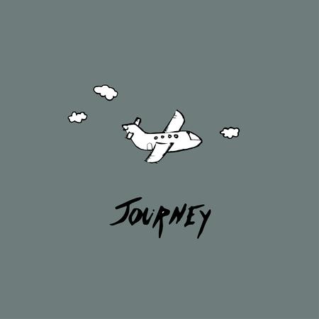 Journey idea. Hand drawn Ink lettering and plane Ilustração