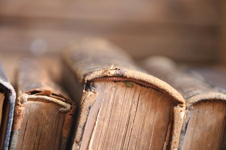 antiquarian: Vintage, antiquarian books books on old wooden shelf.