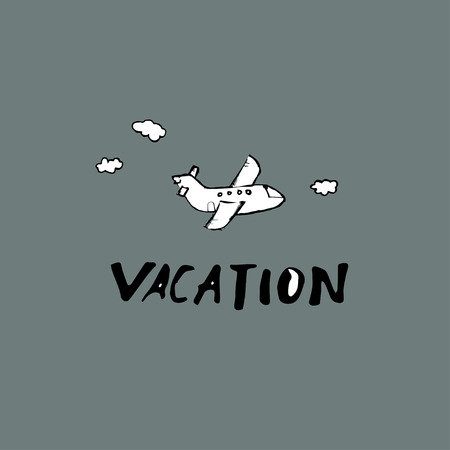 Vacation - Text and plane.. Hand drawn Ink lettering background.