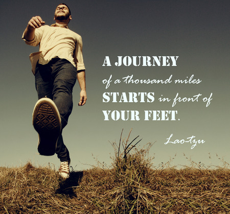 A journey of a thousand miles must begin with a single steph - motivational concept Stock Photo