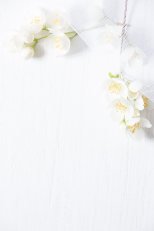 Flowers frame on white wooden background. Beautiful white flowers
