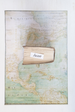 Holiday idea. Text and map created by Claude Bernou, published in 1681. Vintage composition.