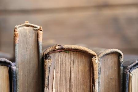 Fila de libros antiguos de cuero en estante