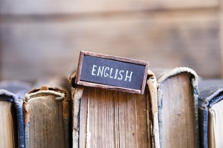 English tag and retro books Stock Photo