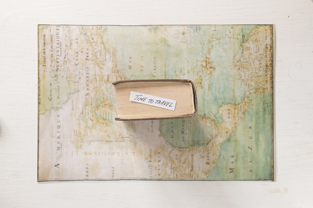 Tme to travel tag on old Map created by Claude Bernou, published in 1681. Stock Photo