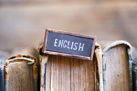 old english: English tag and old vintage books