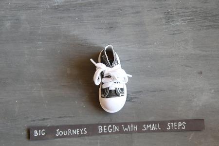 大きな旅を開始、ビンテージ スタイルの小さなステップで