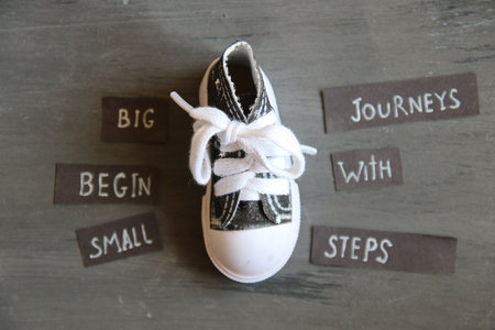 Big journeys begin with small steps, retro style Stock Photo