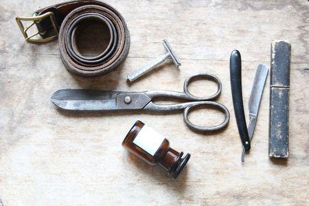 barber shop: Vintage tools of barber shop