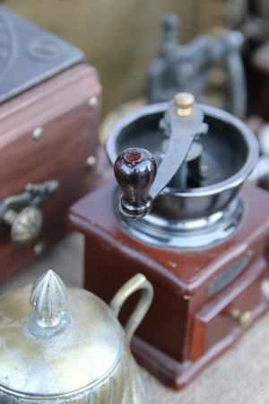 outmoded: Nostalgic coffee grinder. Soft focus.